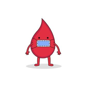 Personnage de dessin animé mignon sang rouge portant un masque