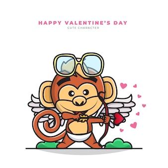 Personnage de dessin animé mignon de singe cupidon et bonne saint valentin