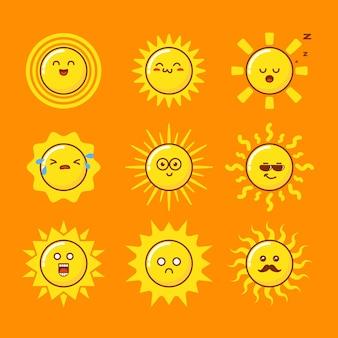 Personnage de dessin animé mignon soleil enfantin d'été