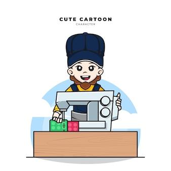 Personnage de dessin animé mignon de travailleur tailleur cousait du tissu