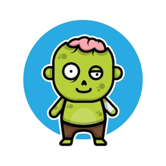 Personnage de dessin animé mignon zombie