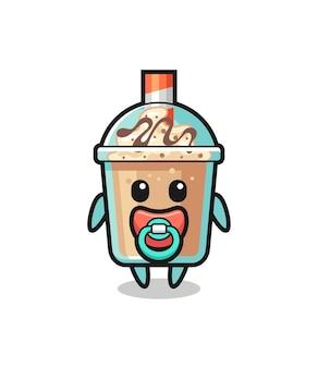 Personnage de dessin animé de milkshake pour bébé avec tétine, design de style mignon pour t-shirt, autocollant, élément de logo