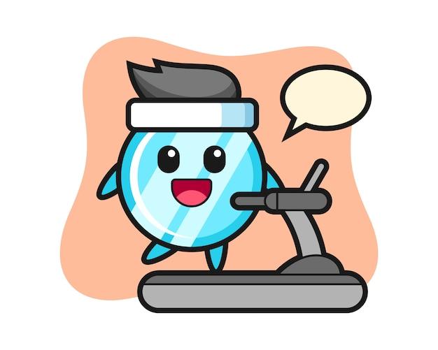 Personnage de dessin animé de miroir marchant sur le tapis roulant