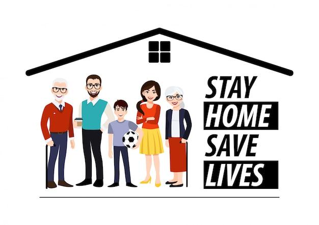 Personnage de dessin animé avec le modèle de bannière de séjour à la maison. famille debout à la maison. quarantaine ou auto-isolement. concept de soins de santé. peurs de contracter le virus corona. vecteur d'icône plate tendance
