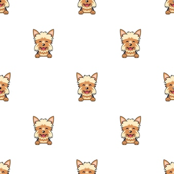 Personnage de dessin animé modèle sans couture de chien yorkshire terrier