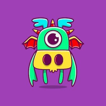 Personnage de dessin animé monstre kawaii doodle