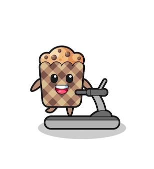 Personnage de dessin animé de muffin marchant sur le tapis roulant, conception mignonne