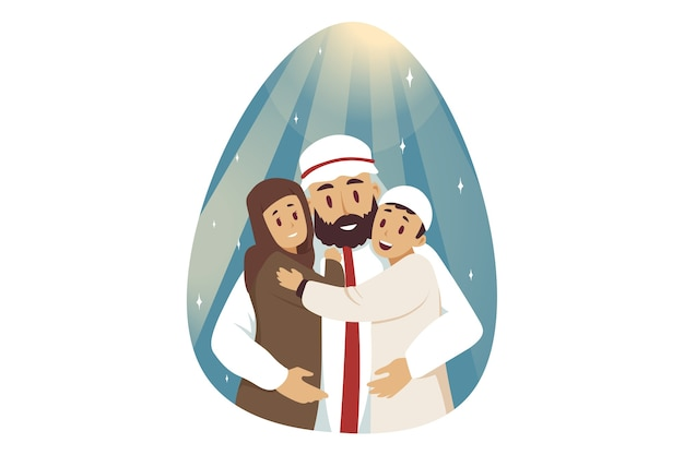 Personnage de dessin animé musulman jeune homme arabe étreignant embrassant enfants enfants garçon et fille posant ensemble