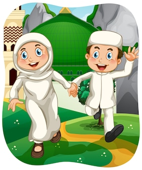 Personnage de dessin animé musulman soeur et frère