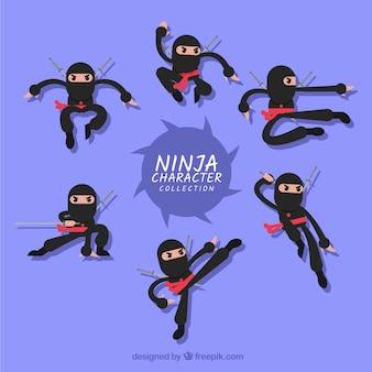 Personnage de dessin animé ninja dans différentes poses