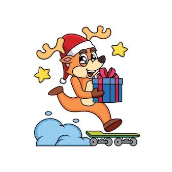 Personnage de dessin animé de noël cerf apporter une boîte de cadeau avec planche à roulettes