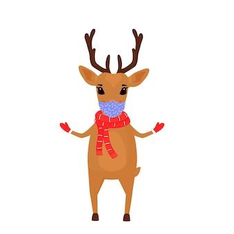 Un personnage de dessin animé de noël de renne porte une écharpe et un masque protecteur.