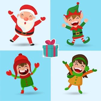 Personnage de dessin animé noël santa elf and kid.