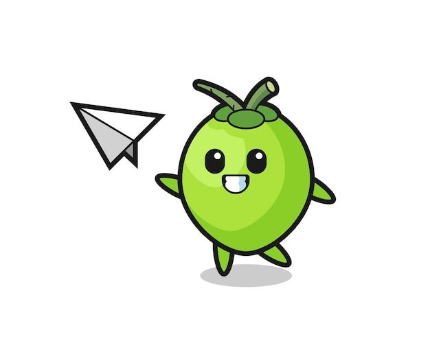 Personnage de dessin animé de noix de coco jetant un avion en papier, design de style mignon pour t-shirt, autocollant, élément de logo