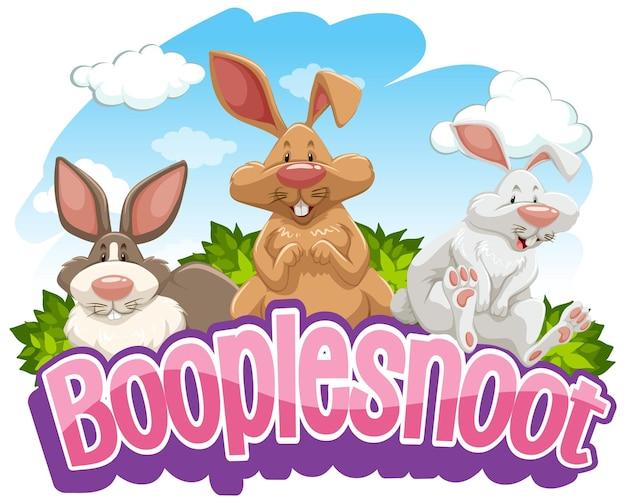 Personnage de dessin animé de nombreux lapins avec bannière de polices booplesnoot isolée