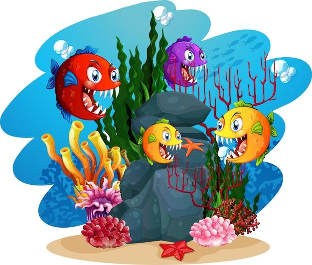 Personnage de dessin animé de nombreux poissons exotiques dans le fond sous-marin