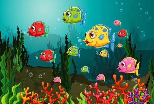 Personnage de dessin animé de nombreux poissons exotiques dans la scène sous-marine avec des coraux