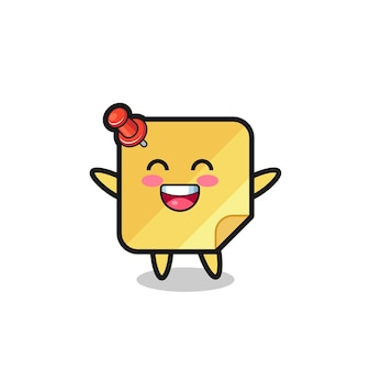 Personnage de dessin animé de notes collantes de bébé heureux, conception de style mignon pour t-shirt, autocollant, élément de logo