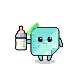 Personnage de dessin animé de notes collantes bleu bébé avec bouteille de lait, design de style mignon pour t-shirt, autocollant, élément de logo