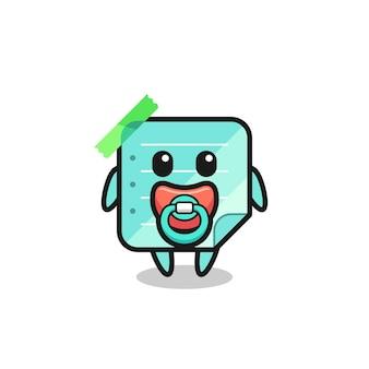 Personnage de dessin animé de notes collantes bleu bébé avec tétine, design de style mignon pour t-shirt, autocollant, élément de logo