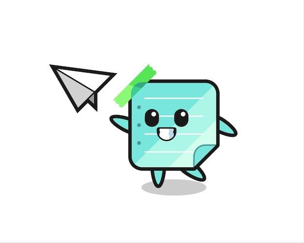 Personnage de dessin animé de notes collantes jetant un avion en papier, design de style mignon pour t-shirt, autocollant, élément de logo
