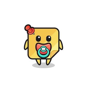 Personnage de dessin animé de notes collantes pour bébé avec tétine, design de style mignon pour t-shirt, autocollant, élément de logo