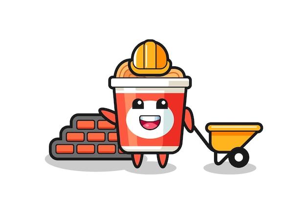 Personnage de dessin animé de nouilles instantanées en tant que constructeur, design de style mignon pour t-shirt, autocollant, élément de logo