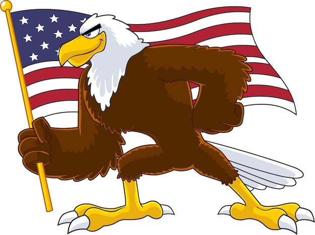 Personnage de dessin animé oiseau aigle agitant le drapeau américain. illustration isolé sur fond blanc