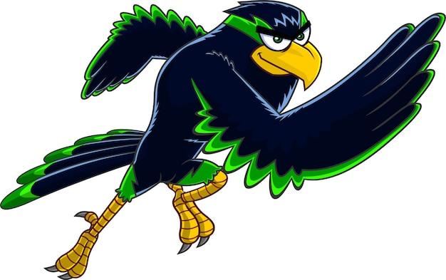 Personnage de dessin animé oiseau faucon en cours d'exécution. illustration isolé sur fond blanc