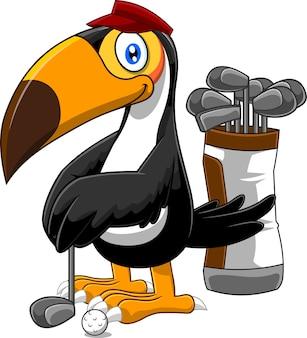 Personnage de dessin animé oiseau toucan golfeur.