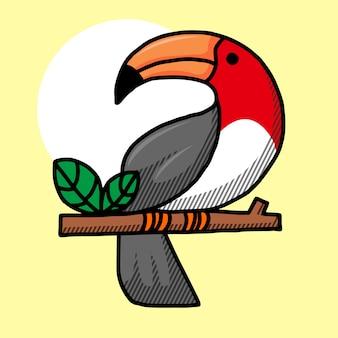 Personnage de dessin animé d'oiseau toucan.