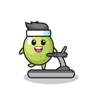 Personnage de dessin animé olive marchant sur le tapis roulant, design de style mignon pour t-shirt, autocollant, élément de logo
