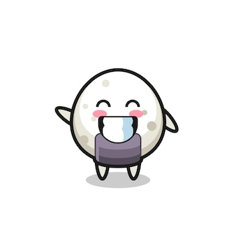 Personnage de dessin animé onigiri faisant un geste de la main, design de style mignon pour t-shirt, autocollant, élément de logo
