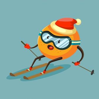 Personnage de dessin animé orange mignon ski dans des lunettes et un chapeau de père noël.