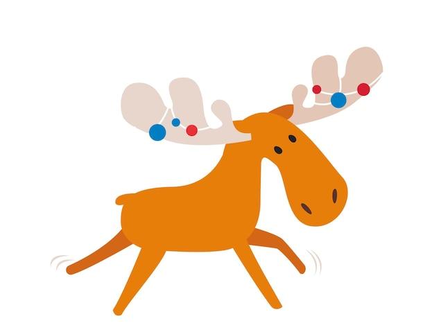 Personnage de dessin animé d'orignal, illustration vectorielle, animal mignon heureux avec des bois décorés