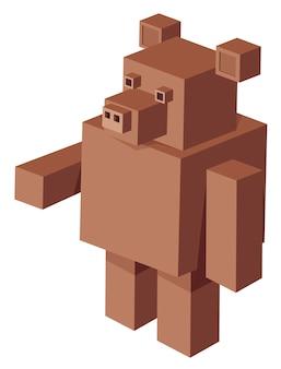 Personnage de dessin animé de l'ours cubique