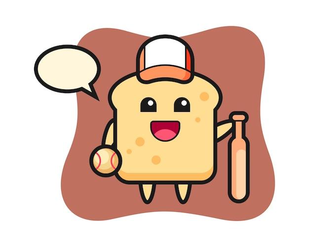 Personnage de dessin animé de pain en tant que joueur de baseball