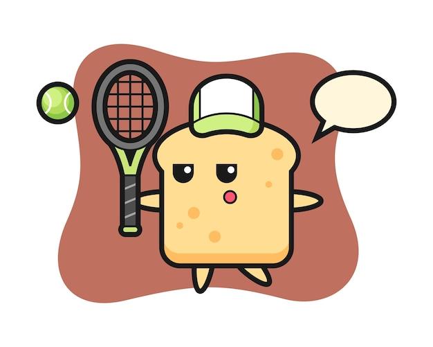 Personnage de dessin animé de pain en tant que joueur de tennis