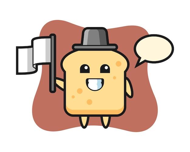 Personnage de dessin animé de pain tenant un drapeau