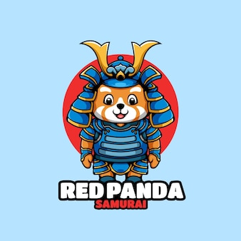 Personnage de dessin animé de panda rouge samouraï
