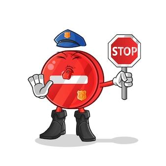 Personnage de dessin animé de panneau d'arrêt de police