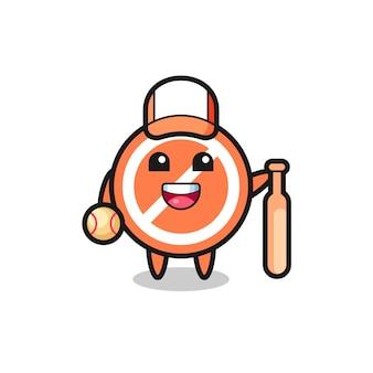 Personnage de dessin animé de panneau d'arrêt en tant que joueur de baseball, design de style mignon pour t-shirt, autocollant, élément de logo