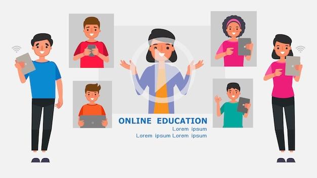 Personnage de dessin animé les parents supervisent les concepts d'utilisation d'internet.apprentissage à distance illustration des technologies de l'information éducation en ligne apprenez à la maison avec la situation épidémique contenu.