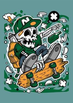 Personnage de dessin animé de patineur de crâne