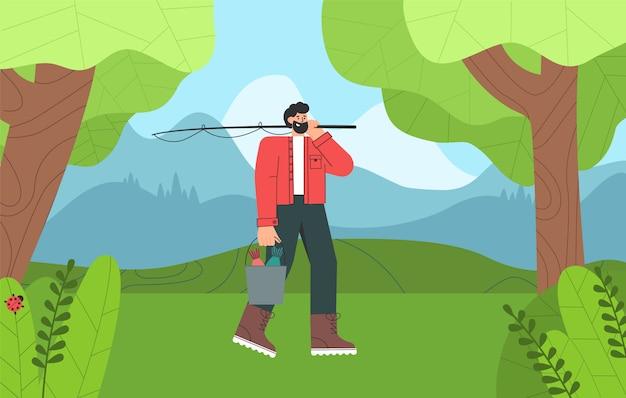 Personnage de dessin animé de pêcheur avec barbe a terminé la pêche, tenant un seau de poisson.