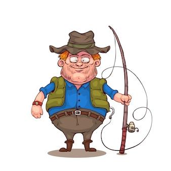 Personnage de dessin animé de pêcheur