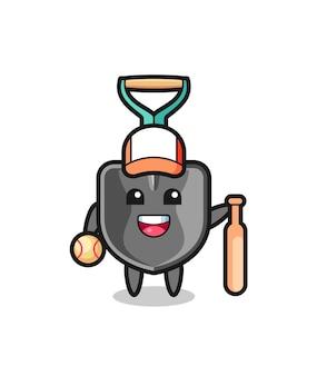 Personnage de dessin animé de pelle en tant que joueur de baseball, design mignon