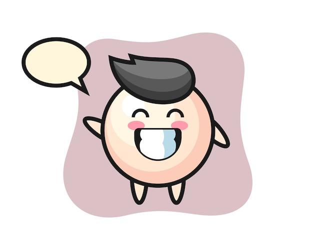 Personnage de dessin animé de perle faisant le geste de la main vague