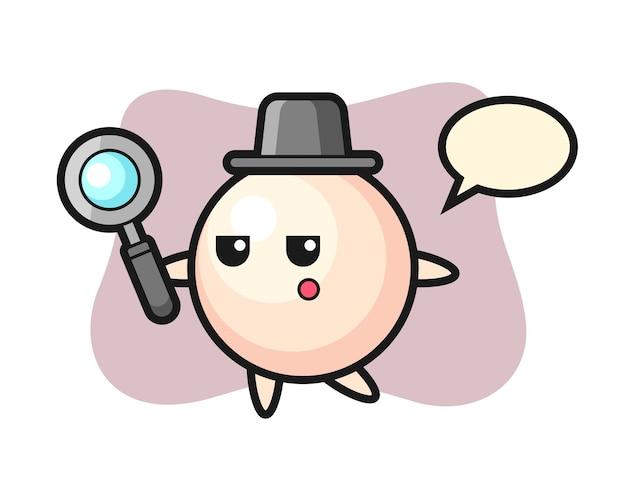 Personnage de dessin animé de perle à la recherche avec une loupe
