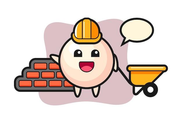 Personnage de dessin animé de perle en tant que constructeur
